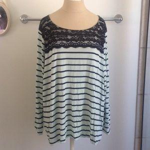 Apt 9 Mint Green w Black Lace Long Sleeve Top 3X